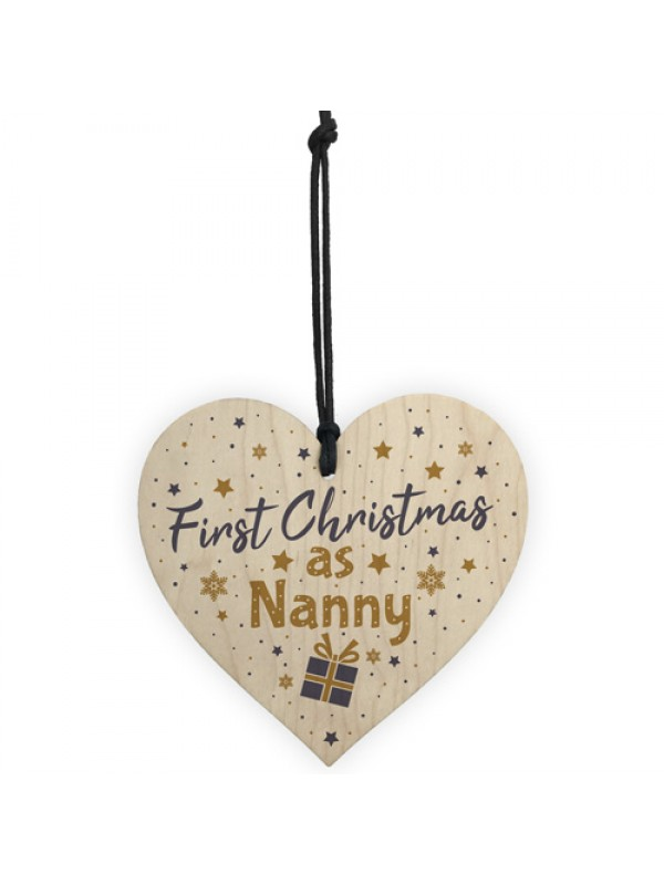 First 1st Christmas As Nanny Tree Decoration Bauble Wooden Heart