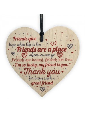 Friendship Plaque Best Friend Gift Wood Heart Sign Thank You