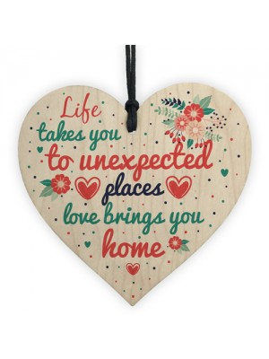 Love Brings You Home Shabby Chic Wooden Heart Memorial Plaque