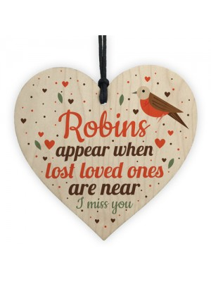 Robins Appear Wood Hanging Heart Memorial Christmas Tree Plaque