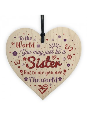 Sister Birthday Christmas Gift Handmade Wood Heart Sign Keepsake
