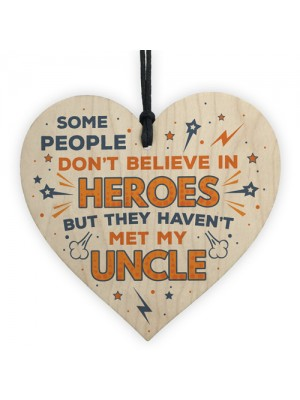 SUPERHERO UNCLE Birthday Christmas Gift Wooden Heart Plaque