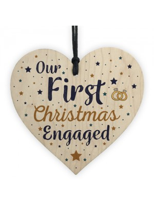 First Christmas Engaged Wooden Xmas Tree Decoration Heart