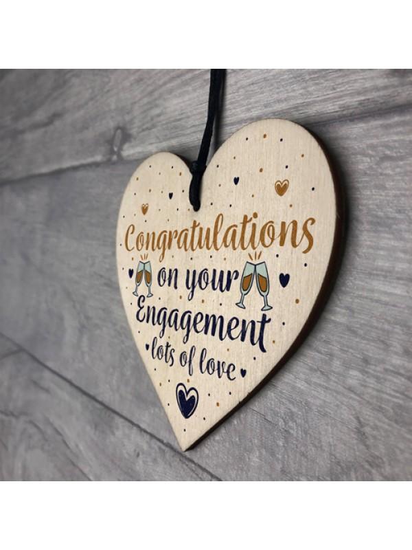 Wedding Engagement Gift Congratulations Wooden Heart Plaque Gift