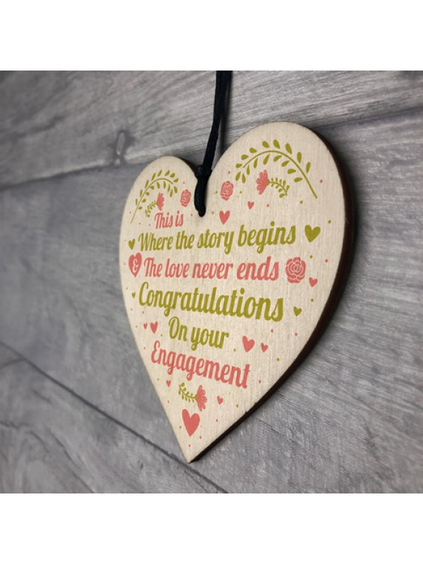 Congratulations On Your Engagement Wedding Gift Wood Heart Sign