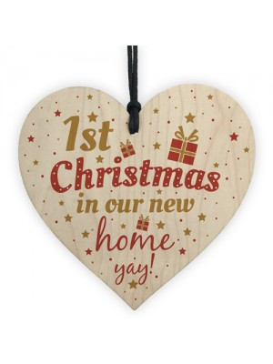 1st First Christmas New Home Plaque Wood Heart Tree Decoration