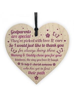 Novelty Godparent Christening Gift Wooden Heart Godmother Gifts