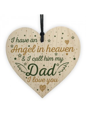 Special Angel Dad Heart Shaped Wood Memorial Grave Plaque