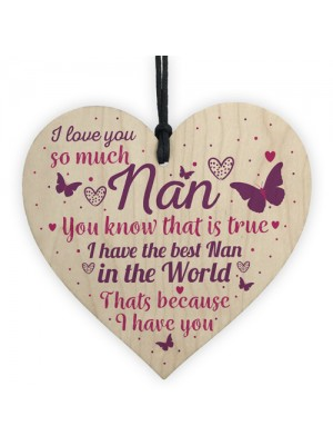 Nan Gifts For Granny Grandma Wood Heart Sign BirthdayT THANK YOU