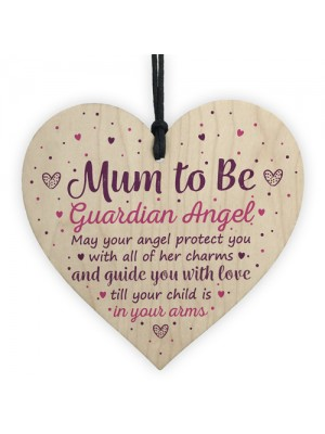 Mum To Be Gifts Guardian Angel Wooden Heart Baby Shower Gifts
