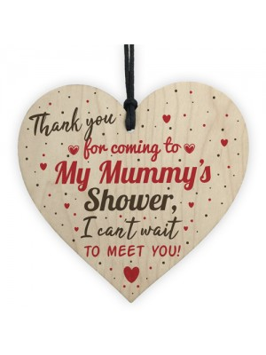 THANK YOU Gift For Baby Shower Wood Heart Favour Tag Plaque
