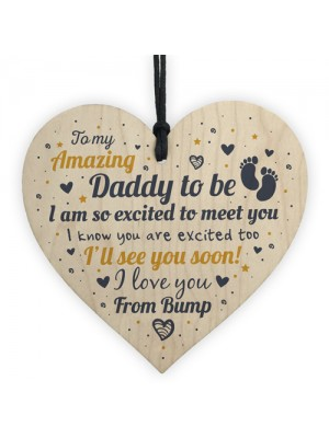 Dad Daddy To Be Gift Funny Novelty Wooden Heart Baby Shower Gift