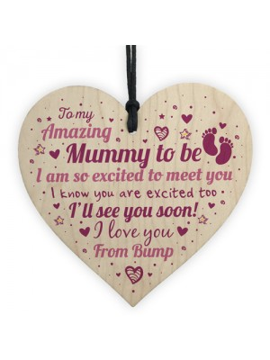 Mum Mummy To Be Gift Funny Novelty Wood Heart Baby Shower Gift
