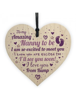 Nan Nanny To Be Gift Funny Novelty Wood Heart Baby Shower Gift