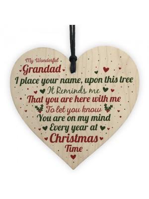 Christmas Memorial Nan Handmade Wooden Heart Tree Decoration