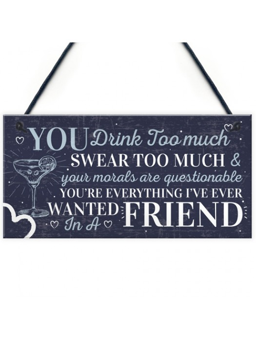 Funny Best Friend Friendship Sign Drink Too Much Alcohol Gifts