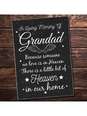 Special Grandad Memorial Grave Gift Hanging Wall Plaque Memorial