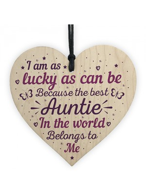 Keepsake Wooden Heart Plaque Birthday Thank You Gifts for Auntie