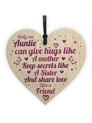 untie Aunty Aunt Sister Gifts Wooden Heart Plaque Christmas