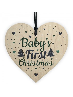 Babys My First Christmas Tree Bauble Decoration Wood Heart 1st