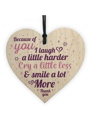 THANK YOU Gift For Best Friend Wooden Heart Christmas Keepsake