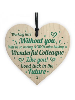 Colleague Leaving Gift Handmade Heart Plaque Work Thank You