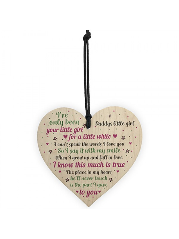 Daddy's Litlle Girl Heart FATHERS DAY Christmas Birthday Gifts