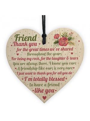 Thank You Best Friend Heart Wooden Plaque Friend Birthday Gifts