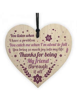 Friendship Best Friend Gift Wooden Heart Thank You Novelty Gift