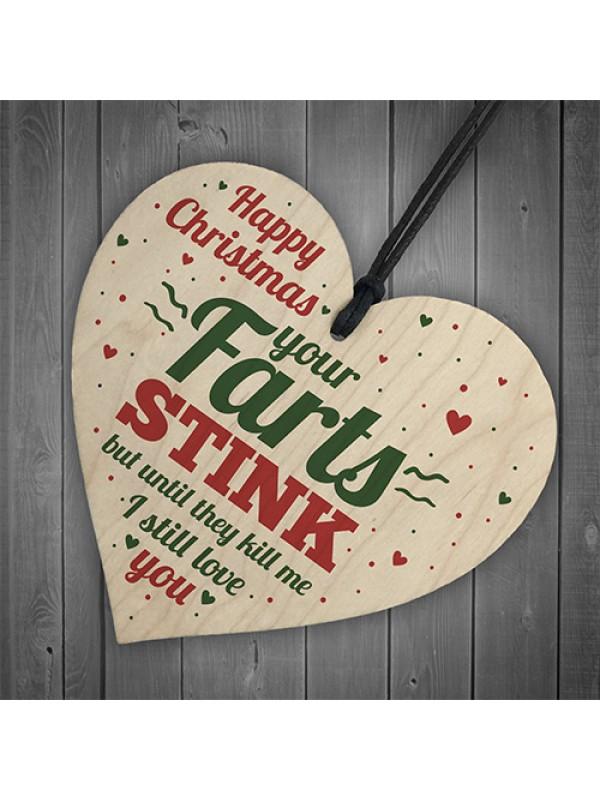 Funny Happy Christmas Gift Wooden Heart Boyfriend Mum Dad Sister