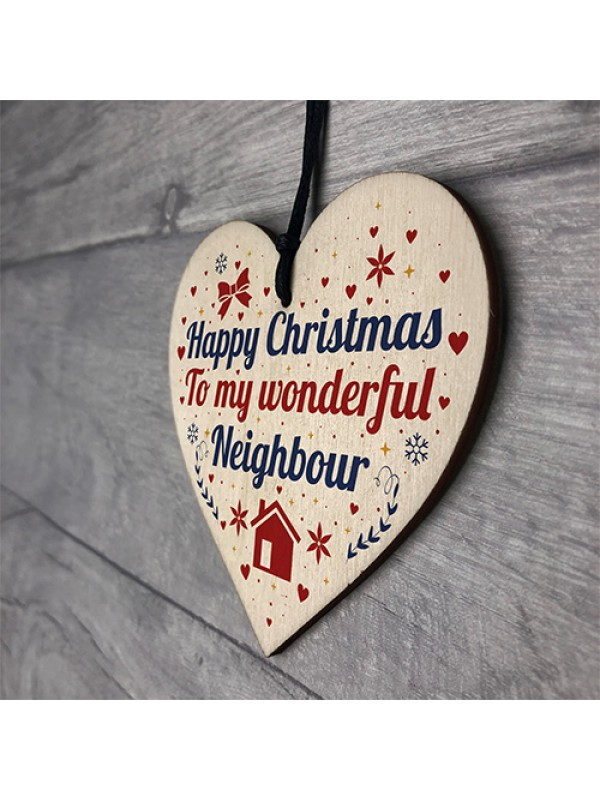 Happy Christmas Card Neighbour Wood Heart Plaque Friendship Gift