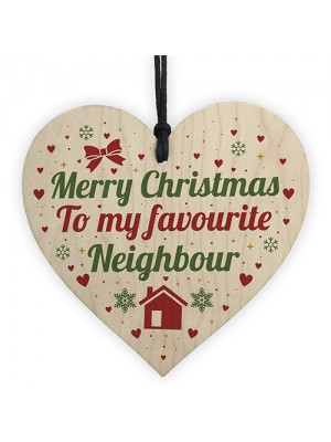 Merry Christmas Card Favourite Neighbour Wooden Heart Plaque