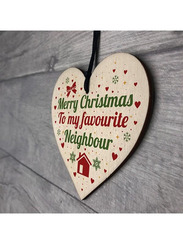 Merry Christmas Card Favourite Neighbour Wooden Heart Plaque