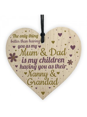 Gifts For Mum Dad Nan Nanny Grandad Wooden Heart Plaque Gift