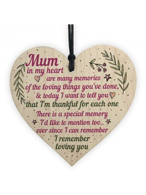 Mum Gifts From Daughter Son Wood Heart Plaque Birthday Christmas
