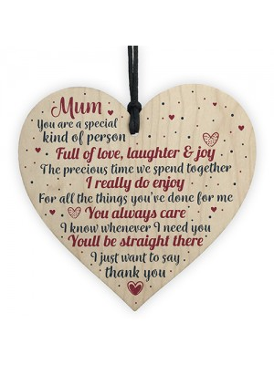THANK YOU Mum Gifts Wooden Heart For Her Mummy Daughter Gift