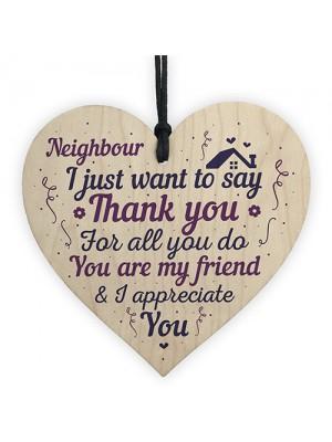 Neighbour Thank You Gift Handmade Wooden Heart Sign Friendship