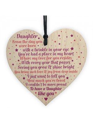Daughter Gifts From Mum Dad Wood Heart Plaque Birthday Gift