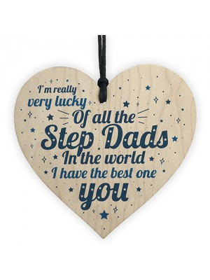 STEP DAD Father Gift Wooden Heart Plaque Birthday Christmas