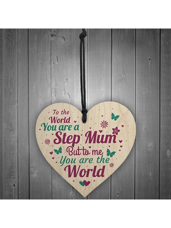 THANK YOU Step Mum Daughter Mum Mummy Gifts Wooden Heart