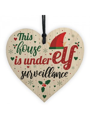Funny Under Elf Surveillance Heart Home Decor Christmas Kid GIFT