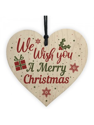 Wish You A Merry Christmas Wood Heart Christmas Tree Xmas Gift