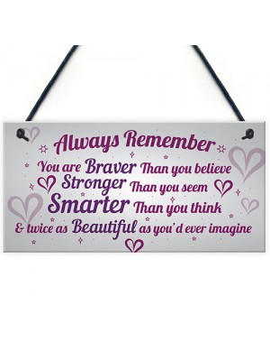 Stronger Inspirational Wall Plaque Friendship Gifts Quote Heart