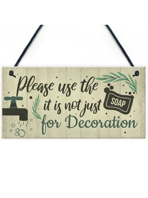 Bathroom Sign Shabby Chic Funny Toilet Sink Loo Hanging Plaque
