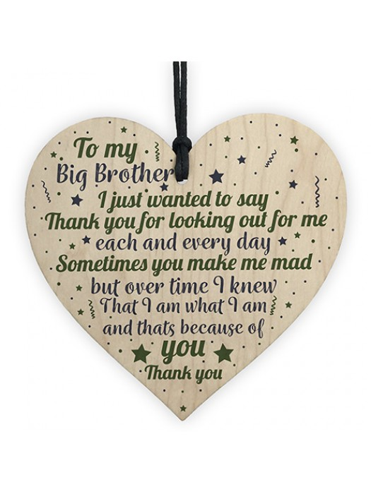 Gifts For Brother Wooden Heart Thank You Birthday Christmas Gift