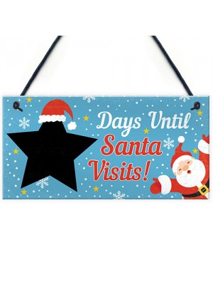 CHALKBOARD Christmas Santa Countdown Family Wall Sign Advent