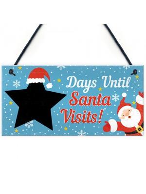 CHALKBOARD Christmas Santa Countdown Family Wall Sign Advent