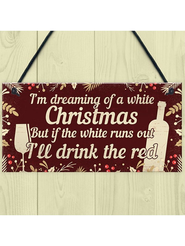 Funny Alcohol Sign Hanging Plaque Christmas Decoration Xmas Gift