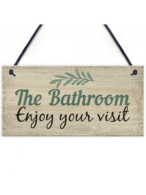 Bathroom Toilet Welcome Chic Sign Novelty Wall Door Plaque Decor