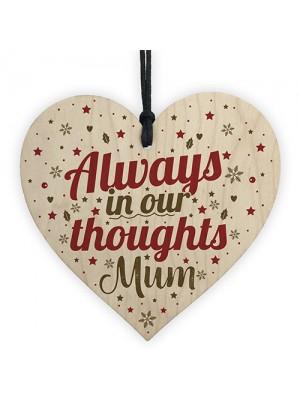 Mum Memorial Christmas Tree Bauble Wooden Hanging Heart Xmas